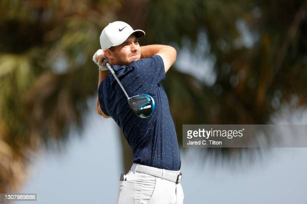 Aaron Wise of the United States plays his shot from the fourth tee during the second round of The Honda Classic at PGA National Champion course on...