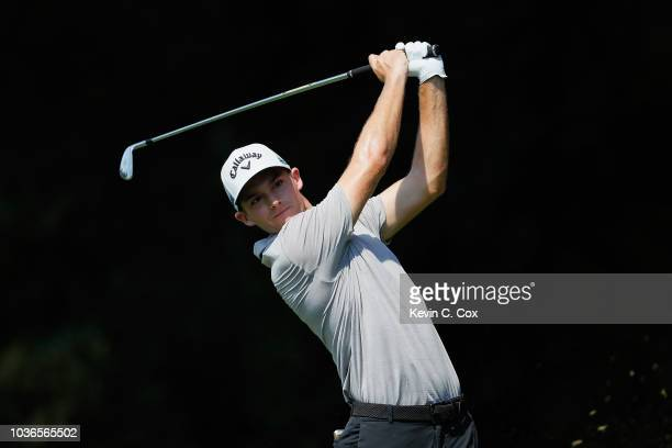 Aaron Wise of the United States plays his shot from the second tee during the first round of the TOUR Championship at East Lake Golf Club on...