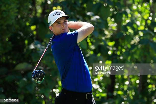Aaron Wise of the United States plays his shot from the seventh tee during the second round of the Mayakoba Golf Classic at El Camaleon Mayakoba Golf...
