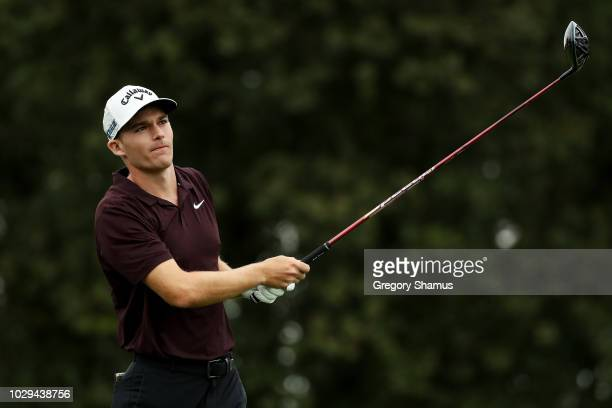 Aaron Wise of the United States plays his shot from the third tee during the third round of the BMW Championship at Aronimink Golf Club on September...