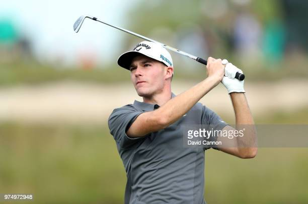 Aaron Wise of the United States plays his tee shot on the 17th hole during the first round of the 2018 US Open at Shinnecock Hills Golf Club on June...