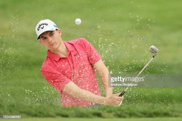 Aaron Wise of the United States plays his third shot on the 16th hole during the final round of The Northern Trust on August 26 2018 at the Ridgewood...