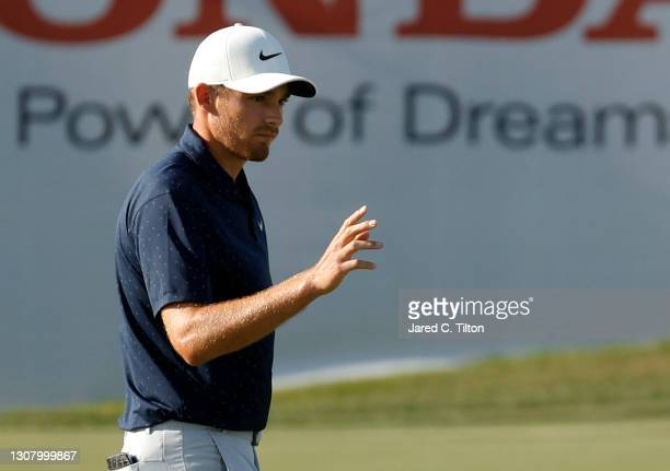 Aaron Wise of the United States reacts on the ninth green during the second round of The Honda Classic at PGA National Champion course on March 19,...
