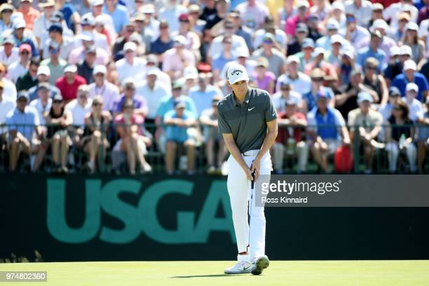 Aaron Wise of the United States reacts on the seventh green during the first round of the 2018 US Open at Shinnecock Hills Golf Club on June 14 2018...