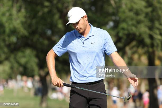 Aaron Wise of the United States reacts on the tenth green during the final round of The Honda Classic at PGA National Champion course on March 21,...