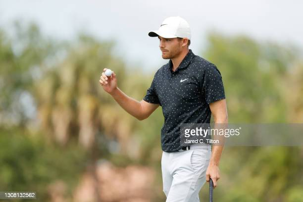 Aaron Wise of the United States reacts on the third green during the third round of The Honda Classic at PGA National Champion course on March 20,...