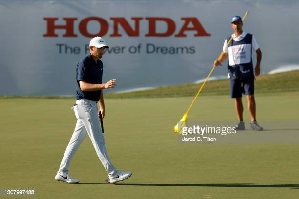 Aaron Wise of the United States reacts to his birdie on the ninth green during the second round of The Honda Classic at PGA National Champion course...