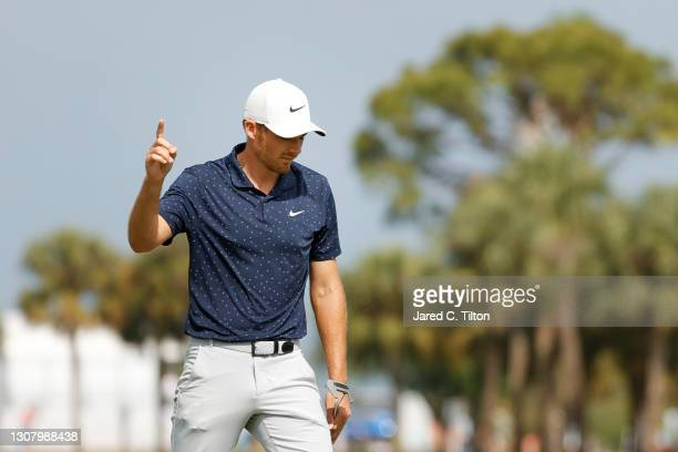 Aaron Wise of the United States reacts to his eagle on the third green during the second round of The Honda Classic at PGA National Champion course...