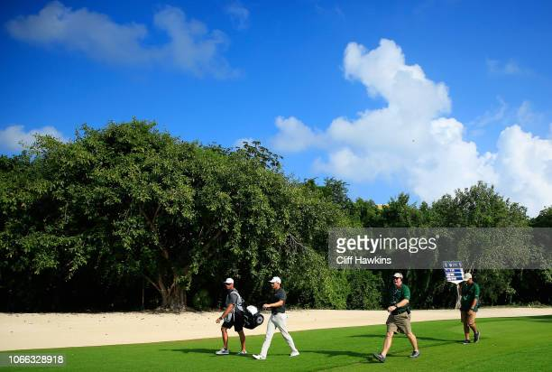 Aaron Wise of the United States walks on the 18th hole during the final round of the Mayakoba Golf Classic at El Camaleon Mayakoba Golf Course on...