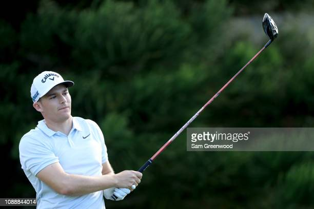 Aaron Wise plays a shot during a practice round prior to the Sentry Tournament of Champions at Kapalua Golf Club Plantation course on January 01 2019...