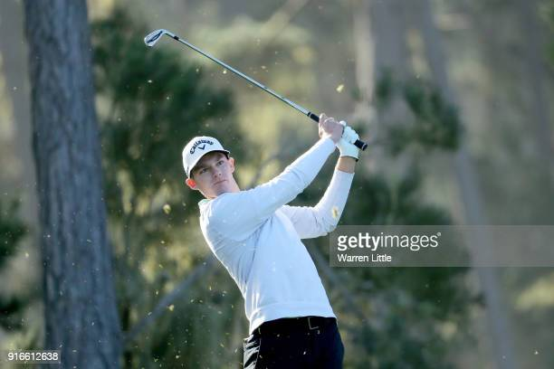 Aaron Wise plays his shot from the 12th tee during Round Three of the ATT Pebble Beach ProAm at Spyglass Hill Golf Course on February 10 2018 in...