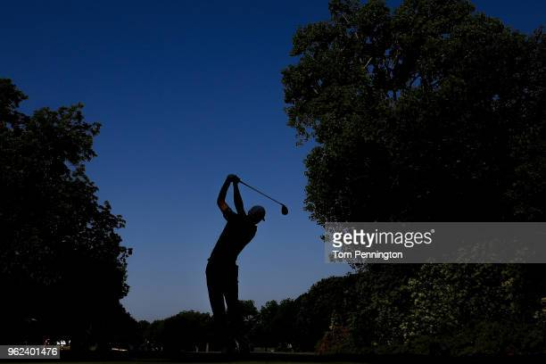 Aaron Wise plays his shot from the 12th tee during round two of the Fort Worth Invitational at Colonial Country Club on May 25 2018 in Fort Worth...