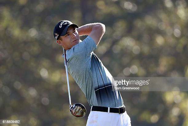 Aaron Wise plays his shot from the fifth tee during the Second Round of the Sanderson Farms Championship at the Country Club of Jackson on October 28...