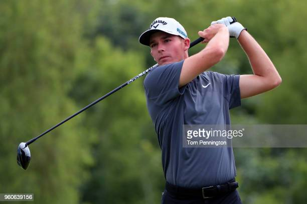 Aaron Wise plays his shot from the fourth tee during the final round of the ATT Byron Nelson at Trinity Forest Golf Club on May 20 2018 in Dallas...
