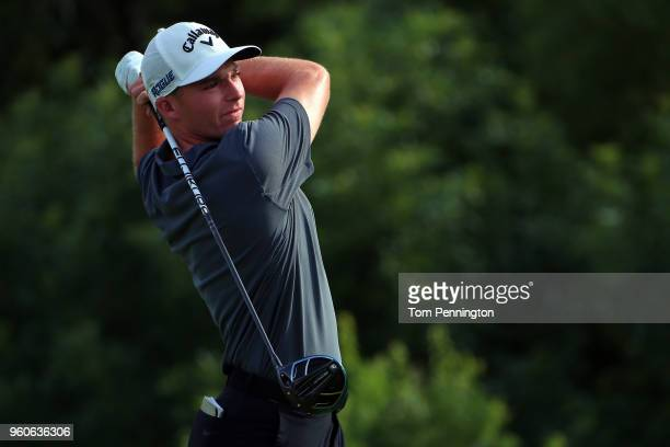 Aaron Wise plays his shot from the ninth tee during the final round of the ATT Byron Nelson at Trinity Forest Golf Club on May 20 2018 in Dallas Texas