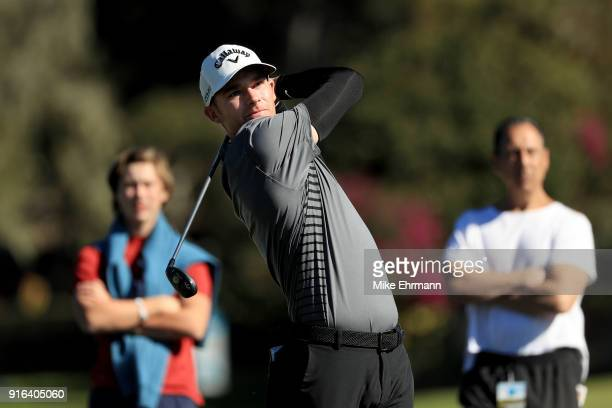 Aaron Wise plays his shot from the sixth tee during Round Two of the ATT Pebble Beach ProAm at Pebble Beach Golf Links on February 9 2018 in Pebble...