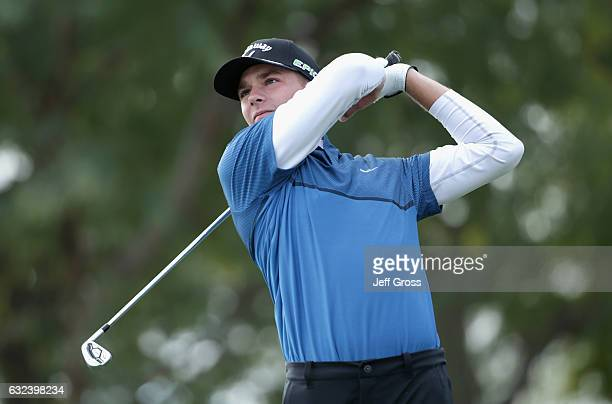 Aaron Wise plays his shot from the sixth tee during the final round of the CareerBuilder Challenge in partnership with The Clinton Foundation at the...