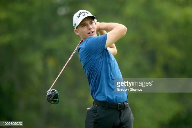 Aaron Wise plays his shot from the sixth tee during World Golf ChampionshipsBridgestone Invitational Round One at Firestone Country Club South Course...