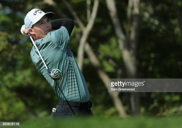 Aaron Wise plays his shot from the third tee during the final round at the Arnold Palmer Invitational Presented By MasterCard at Bay Hill Club and...