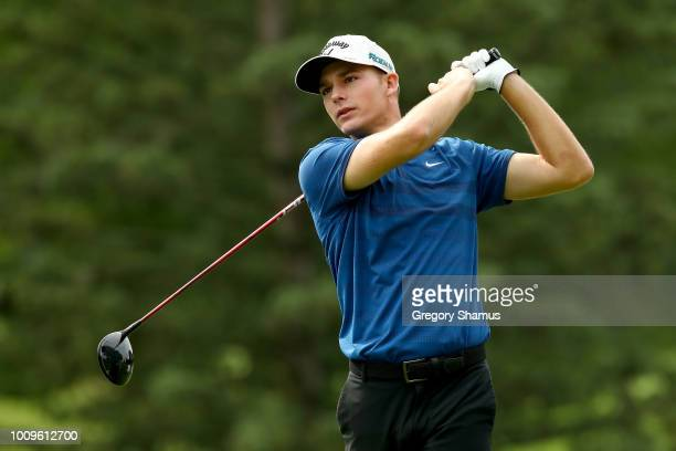 Aaron Wise plays his shot from the third tee during World Golf ChampionshipsBridgestone Invitational Round One at Firestone Country Club South Course...