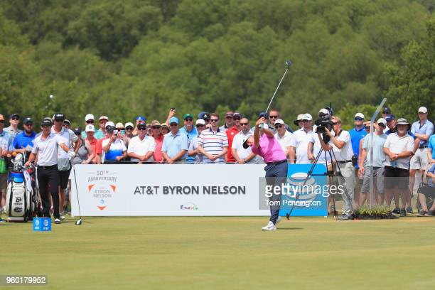 Aaron Wise plays his tee shot on the first hole during the third round of the ATT Byron Nelson at Trinity Forest Golf Club on May 19 2018 in Dallas...