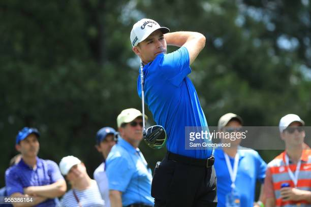 Aaron Wise plays his tee shot on the third hole during the final round of the 2018 Wells Fargo Championship at Quail Hollow Club on May 6 2018 in...