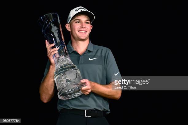 Aaron Wise poses with the trophy after winning the AT&T Byron Nelson at Trinity Forest Golf Club on May 20, 2018 in Dallas, Texas.