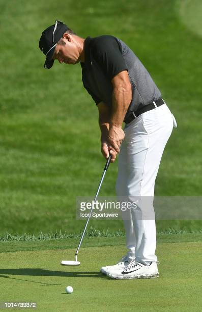 Aaron Wise putts on the green during the second round of the PGA Championship on August 10 at Bellerive Country Club St Louis MO