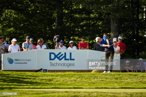 Aaron Wise tees off on the 16th hole during the first round of the Dell Technologies Championship at TPC Boston on August 31 2018 in Norton...