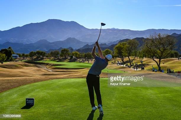 Aaron Wise tees off on the 16th hole during the third round of the Desert Classic on the Stadium Course at PGA West on January 19 2019 in La Quinta...