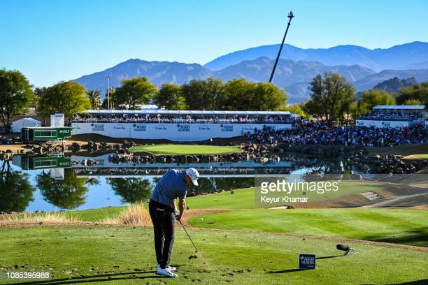 Aaron Wise tees off on the 17th hole during the third round of the Desert Classic on the Stadium Course at PGA West on January 19 2019 in La Quinta...