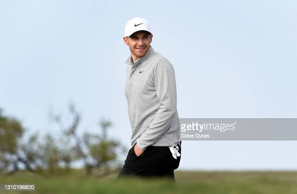 Aaron Wise walks on to the tee box on the 11th hole during the pro-am prior to the Valero Texas Open at TPC San Antonio on March 31, 2021 in San...