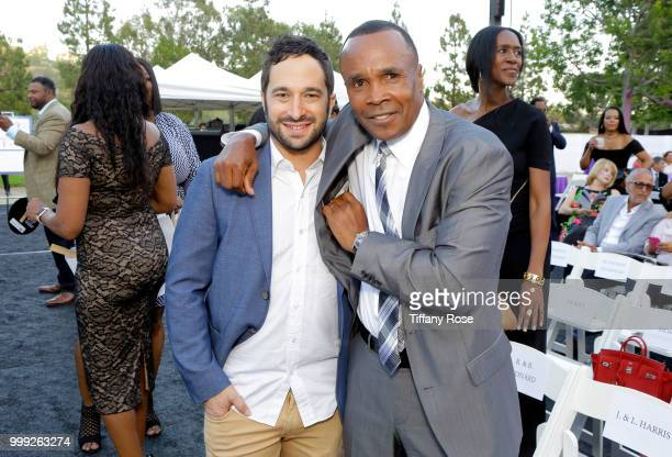 Aaron Wolf and Sugar Ray Robinson attend the HollyRod 20th Annual DesignCare at Cross Creek Farm on July 14 2018 in Malibu California