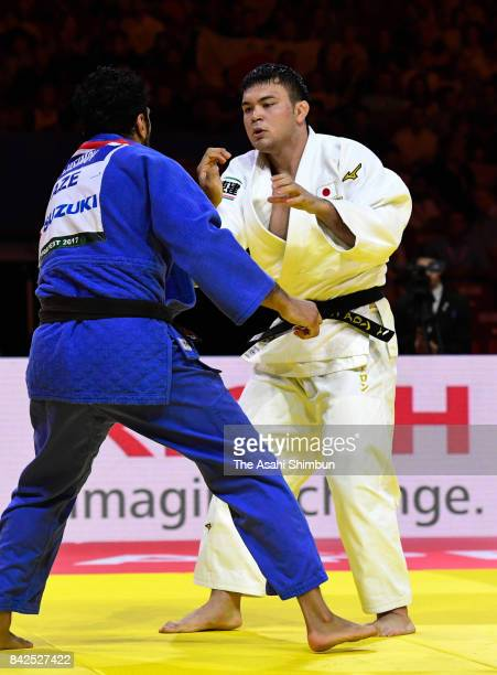 Aaron Wolf of Japan and Elmar Gasimov of Azerbaijan compete in the Men's 100kg quarter final during day six of the World Judo Championships at the...