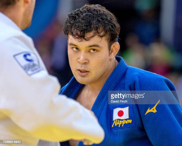 Aaron Wolf of Japan defeated Kirill Denisov of Russia by an ippon in the second round of the u100kg division during day six of the 2018 Judo World...