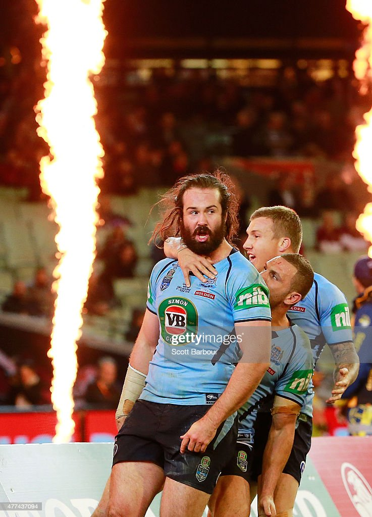 Aaron Woods of the Blues celebrates after scoring a try during game two of the State of Origin series between the New South Wales Blues and the Queensland Maroons at the Melbourne Cricket Ground on June 17, 2015 in Melbourne, Australia.