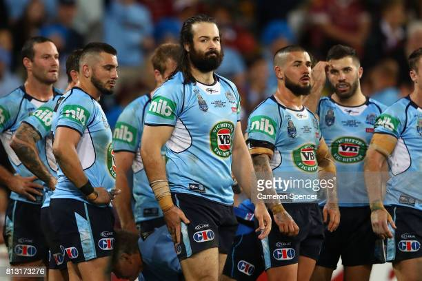 Aaron Woods of the Blues looks dejected after a Maroons try during game three of the State Of Origin series between the Queensland Maroons and the...