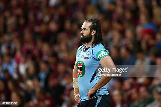 Aaron Woods of the Blues looks dejected during game three of the State of Origin series between the Queensland Maroons and the New South Wales Blues...