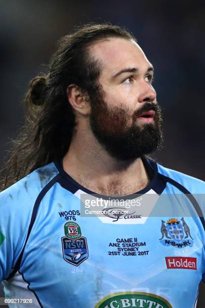 Aaron Woods of the Blues looks on during game two of the State Of Origin series between the New South Wales Blues and the Queensland Maroons at ANZ...