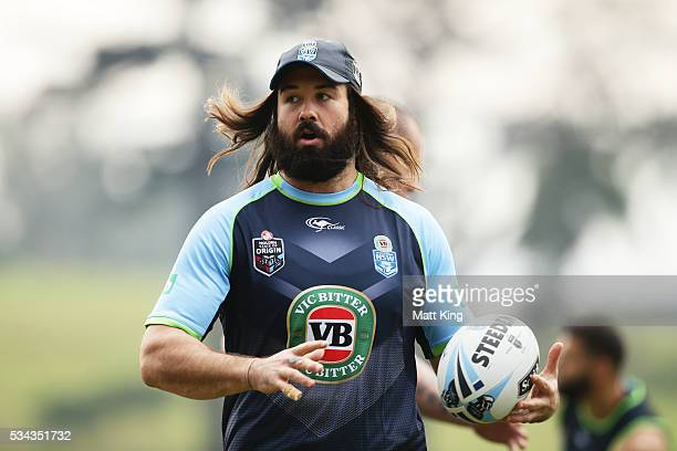 Aaron Woods of the Blues runs with the ball during a New South Wales State of Origin media opportunity on May 26 2016 in Coffs Harbour Australia