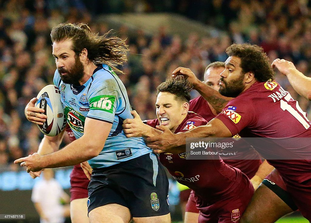 Aaron Woods of the Blues scores a try during game two of the State of Origin series between the New South Wales Blues and the Queensland Maroons at the Melbourne Cricket Ground on June 17, 2015 in Melbourne, Australia.
