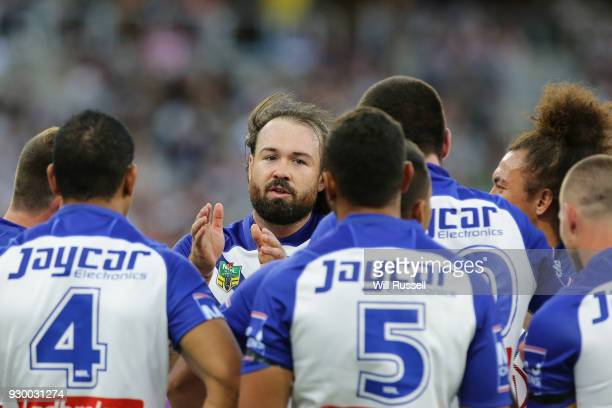 Aaron Woods of the Bulldogs speaks to the team during the round one NRL match between the Canterbury Bulldogs and the Melbourne Storm at Perth...