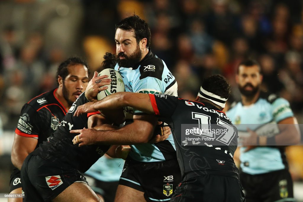 Aaron Woods of the Sharks charges forward during the round 16 NRL match between the New Zealand Warriors and the Cronulla Sharks at Mt Smart Stadium on June 29, 2018 in Auckland, New Zealand.