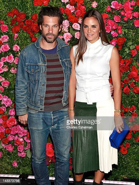 Aaron Young and Laure Heriard Dubreuil attend the 7th Annual Chanel Tribeca Film Festival Artists Dinner at The Odeon on April 24 2012 in New York...