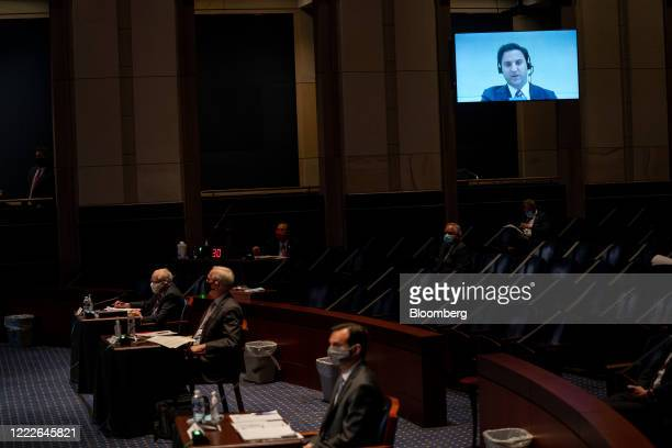 Aaron Zelinsky assistant US attorney in Maryland speaks via teleconference during a House Judiciary Committee hearing in Washington DC US on...