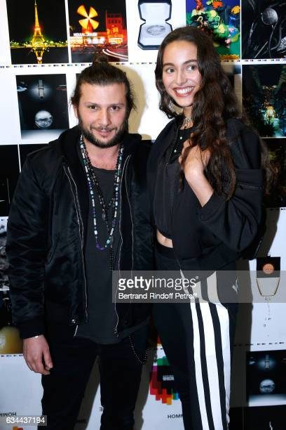 AaronJahStone and aughter of Yannick Noah model Jenaye Noah attend the Launching of the Book 'Mocafico Numero' at Studio des Acacias on February 9...
