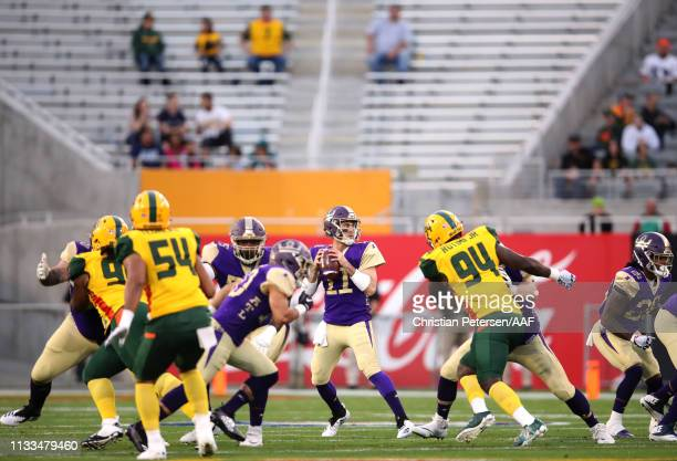 Aaron Murray of the Atlanta Legends looks to pass during the first quarter of the Alliance of American Football game against the Arizona Hotshots at...