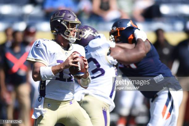 AaronMurray of the Atlanta Legends looks to pass the ball during the second half against the Orlando Apollos in an Alliance of American Football...