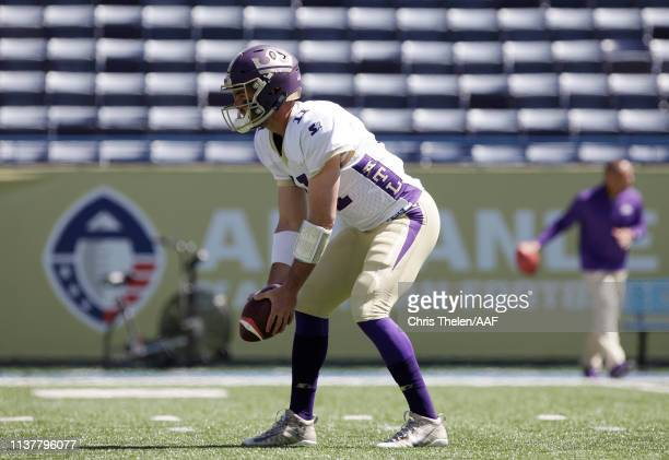 AaronMurray of the Atlanta Legends warms up before an Alliance of American Football game against the Orlando Apollos at Georgia State Stadium on...