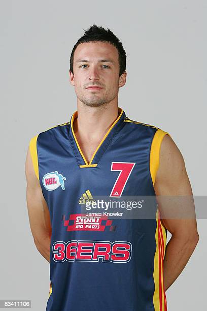 Aarow Bruce of the 36ers poses during the official Adelaide 36ers 2008/2009 NBL portrait session at the Distinctive Homes Dome on October 24 2008 in...